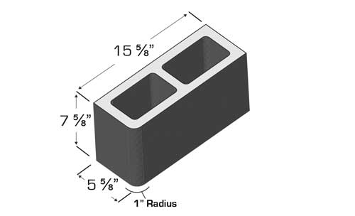 Concrete Block Precision 6x8x16 Single Bullnose