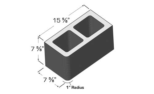 Concrete Block Precision 8x8x16 Single Bullnose