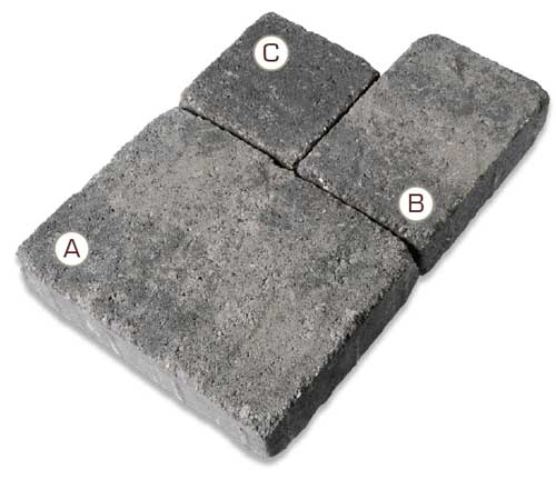 Stonetop Tumbled Interlocking Concrete Paver pieces