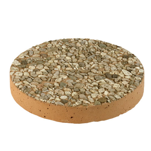 Round Aggregate Stepping Stone Tan