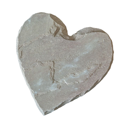 Heart Shaped Natural Stone Stepping Stone Antique Brown