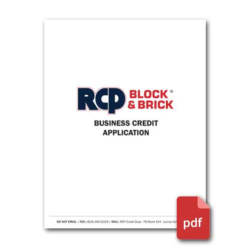 RCP Block & Brick Business Credit Application