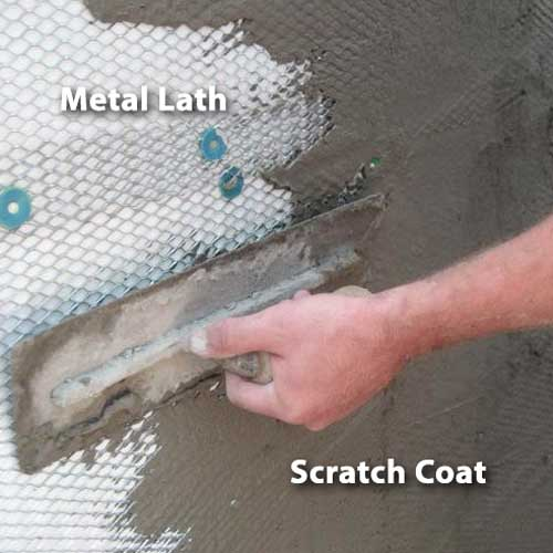Applying Scratch Coat to Lathe for Stone Veneer